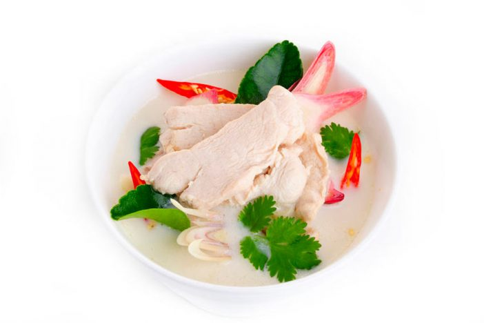 Tom kha kai or chicken coconut soup