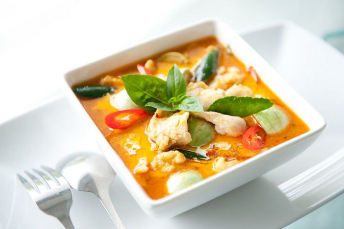 Chicken red curry with eggplants